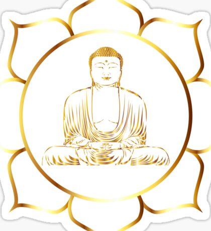 Gold buddha in lotus meditation illustration Sticker