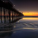 Oceanside Pier Sunset Low Tide by photosbyflood