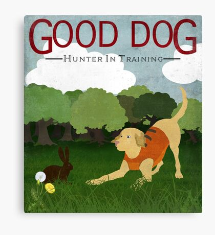 Good Dog Hunter in Training golden lab, bunny rabbit Canvas Print