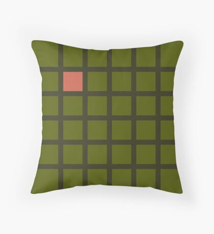 Military green grid Throw Pillow