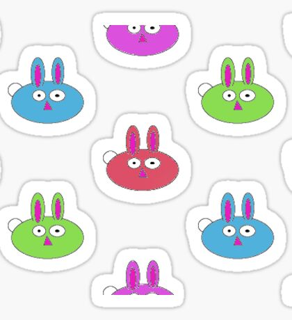 Colored Easter Bunnies Sticker