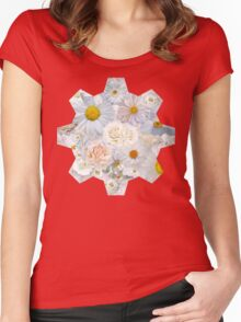 White Flowers Field Summer Bouquet Floral Wedding Bridal  Women's Fitted Scoop T-Shirt