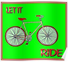 LET IT RIDE; Abstract Whimsical Bicycle Print Poster