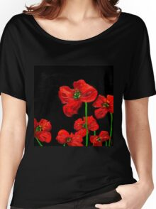 Red poppies on black Women's Relaxed Fit T-Shirt
