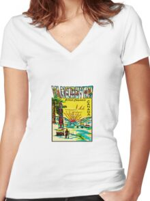 Vancouver British Columbia Vintage Travel Decal Women's Fitted V-Neck T-Shirt