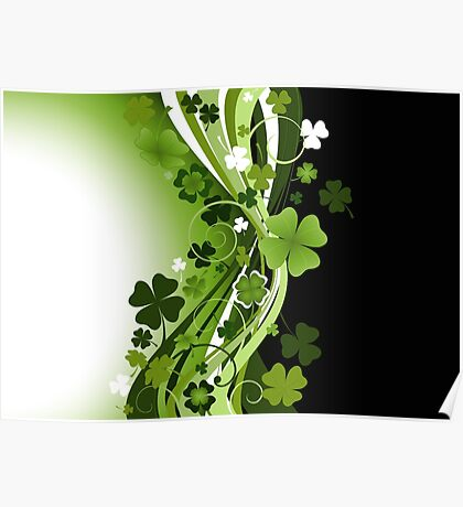Four leaf clovers Poster