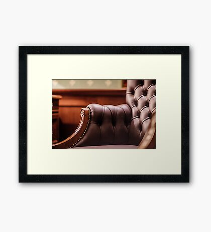 Soft leather chair Framed Print