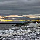 Seaburn and Roker Lighthouses by Avril Harris