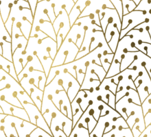 Gold & Black Berry Branches Sticker