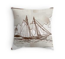 Vintage View of Sailing Ships on the Sea Throw Pillow