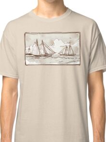 Vintage View of Sailing Ships on the Sea Classic T-Shirt
