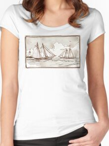 Vintage View of Sailing Ships on the Sea Women's Fitted Scoop T-Shirt