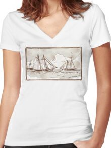 Vintage View of Sailing Ships on the Sea Women's Fitted V-Neck T-Shirt