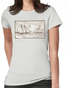 Vintage View of Sailing Ships on the Sea Womens Fitted T-Shirt