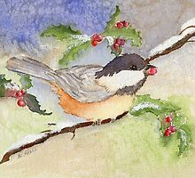 Chickadee in the Snow by Diane Hall