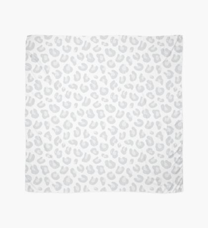 Silver Gray and White Leopard Print Scarf