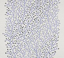 Silver & Periwinkle Berry Branches by Cat Coquillette