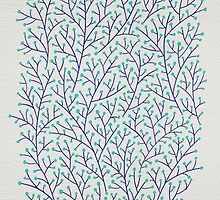 Turquoise & Navy Berry Branches by Cat Coquillette