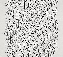 Black & Silver Berry Branches by Cat Coquillette