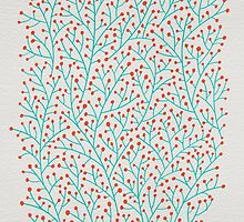 Red & Turquoise Berry Branches by Cat Coquillette