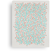 Red & Turquoise Berry Branches Canvas Print