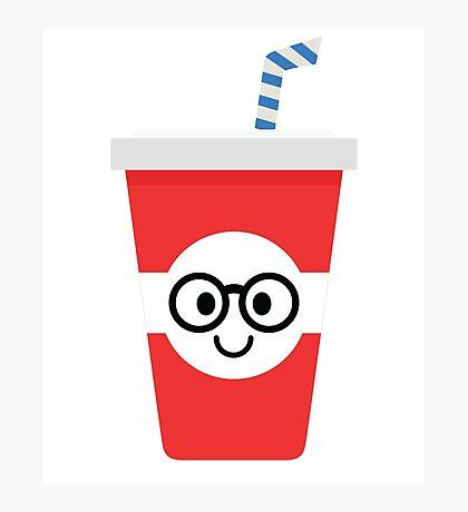 Soft Drink Cup Emoji Nerd Noob Glasses Photographic Print
