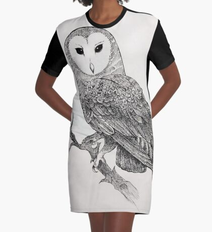 Detailed Owl Graphic T-Shirt Dress