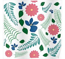 Flowers and Ferns Repeating Pattern Poster
