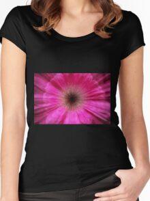 Pink bursting Gerber Daisy photograph  Women's Fitted Scoop T-Shirt