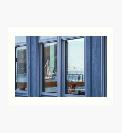 Wall Art in the Reflections an Ocean seascape sailing seagull Art Print