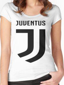 Juventus New Logo 2017 Black Women's Fitted Scoop T-Shirt