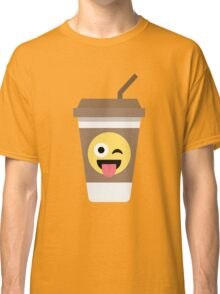 Coffee Cup Emoji Wink and Tongue Out Classic T-Shirt