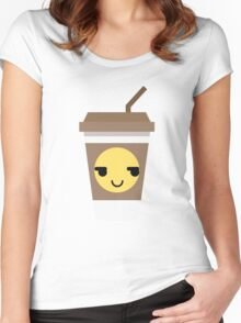 Coffee Cup Emoji Cheeky and Up to Something Women's Fitted Scoop T-Shirt
