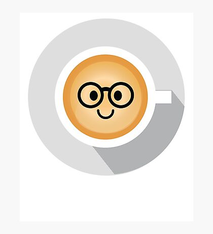 Gourmet Coffee Emoji Nerd Noob Glasses Photographic Print