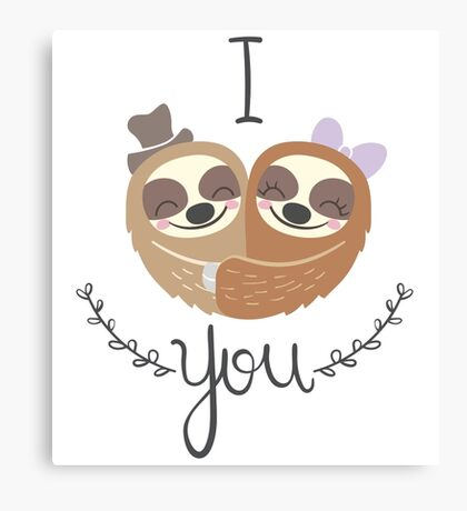 Cute Valentine Sloths Love Hat and Bow Canvas Print