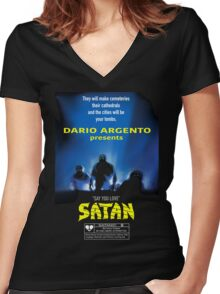 Say You Love Satan 80s Horror Podcast - Demons Women's Fitted V-Neck T-Shirt