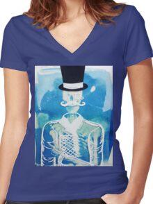 Fancy Skeleton  Women's Fitted V-Neck T-Shirt