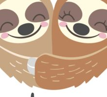Cute Valentine Sloths Love Hat and Bow Sticker