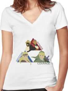 Three Opposing Forces Women's Fitted V-Neck T-Shirt