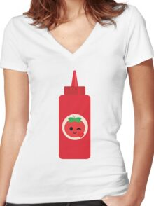 Ketchup Sauce Emoji Flirt and Blow Kiss Women's Fitted V-Neck T-Shirt