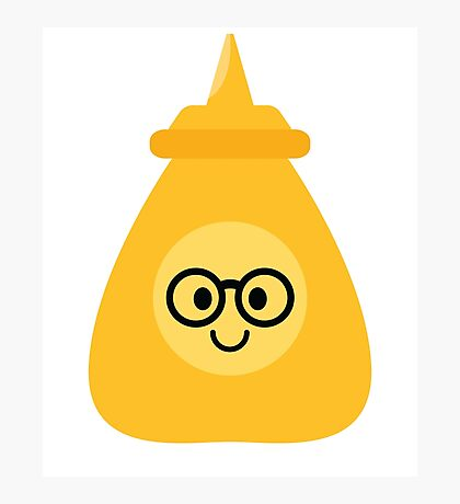 Mustard Sauce Emoji Nerd Noob Glasses Photographic Print
