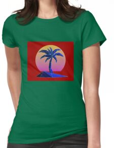 Beautiful Palm Tree and The Sun Womens Fitted T-Shirt