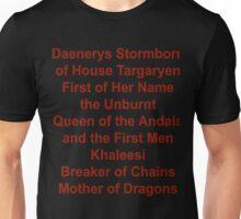 Daenerys Targaryen Title Unisex T-Shirt