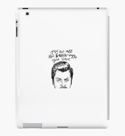 Ron Swanson Bacon Quote iPad Case/Skin