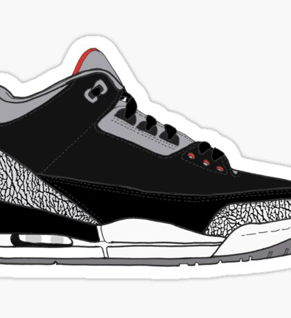 "Air Jordan III (3) ""Black Cement"" Sticker"