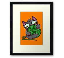 Kitty and Yarn Framed Print