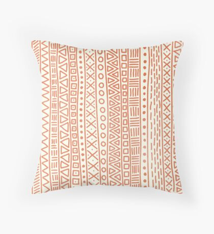 Hand Drawn Tribal Print Coral and Cream Throw Pillow