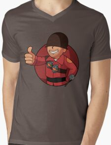 RED Soldier Mens V-Neck T-Shirt