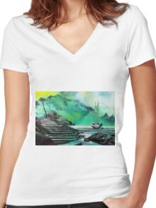 Anchored  Women's Fitted V-Neck T-Shirt