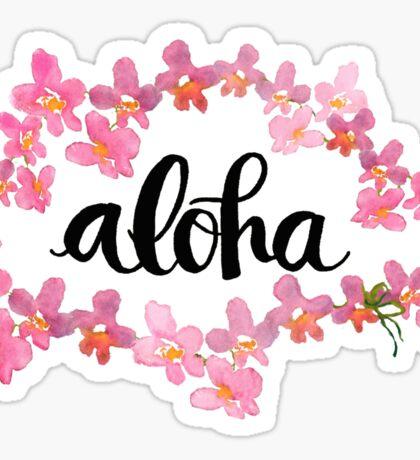 Aloha Orchid Lei Hawaii Sticker